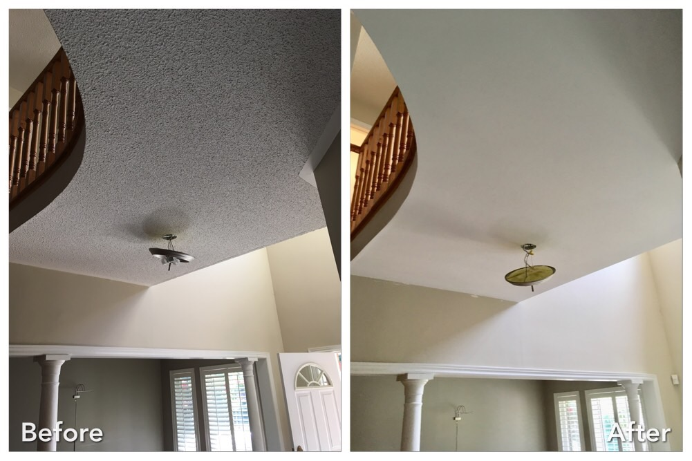 Before & After Popcorn Ceiling Removal (Video)