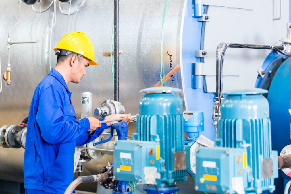 Chemical plant operator pumps