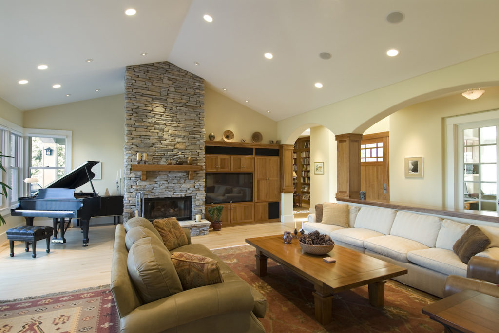 spacious living room with pot lights